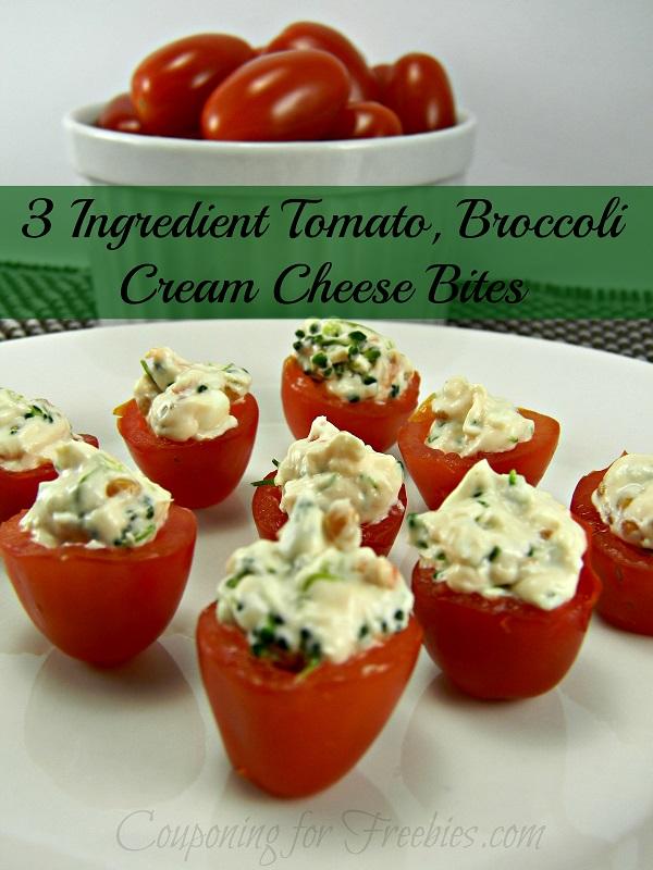 3 Ingredient Tomato, Broccoli Cream Cheese Bites