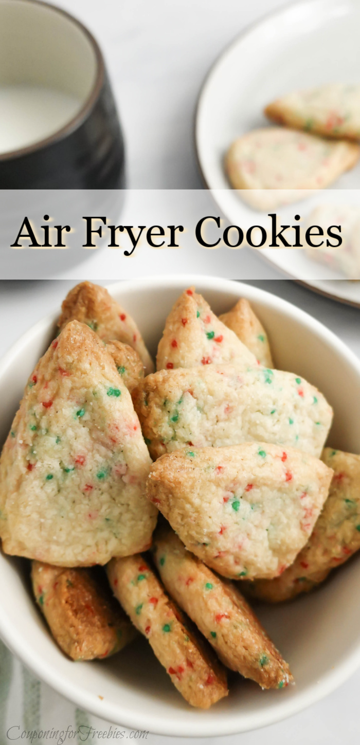 Bowl of homemade air fryer cookies with mug of milk in background. Text overlay at top that says Air Fryer Cookies