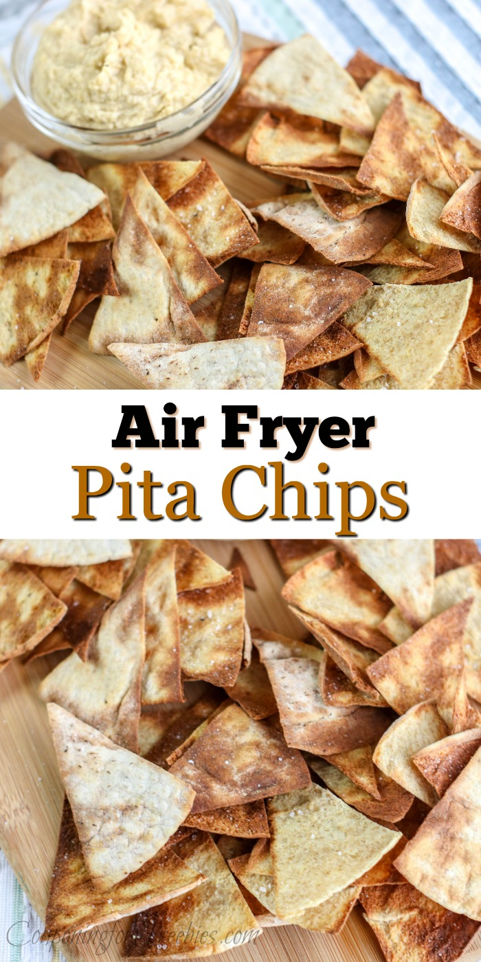 "Pita chips on wood cutting board with glass bowl of hummus. In middle is a text overlay that says ""Air Fryer Pita Chips"""