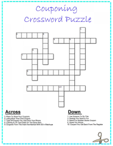 Printable Crossword Puzzle: FREE Printable Couponing Crossword Puzzle!