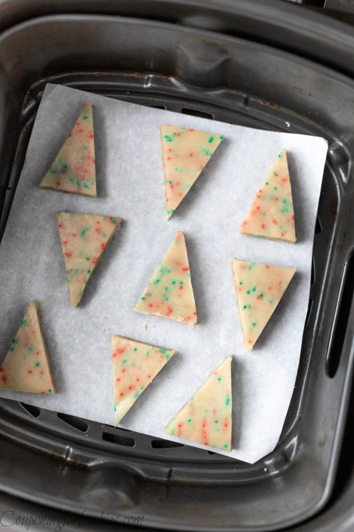Cut out cookies in air fryer on paper
