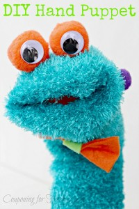 Blue fuzzy hand puppet with text overlay that says DIY Hand Puppet.