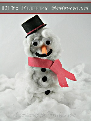 Snowman made from cotton balls and tp rolls. Text overlay at top that says DIY Fluffy Snowman