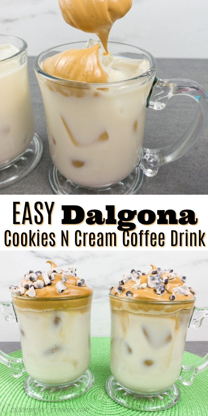 "Whipped coffee being spooned on top of milk at the top. Bottom is two mugs full of whipped coffee. Middle is a text overlay saying ""Easy Dalgona Cookies N Cream Coffee Drink"""