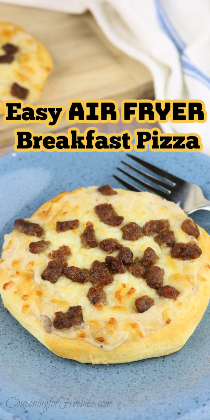 Breakfast pizza on blue plate with fork text overly at top that says Easy Air Fryer Breakfast Pizza