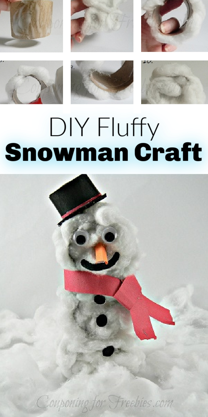 Steps to make the snowman at the top. Finished product at bottom. Text overlay in middle that says DIY Fluffy Snowman Craft