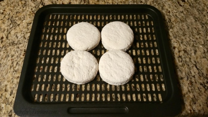Frozen biscuits on air fryer tray