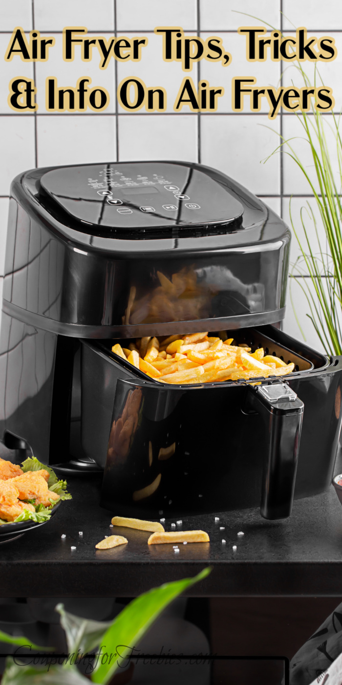 Air Fryer Tips, Tricks & Info On Air Fryers. Text overlay at the top that says Air Fryer Tips, Tricks & Info On Air Fryers