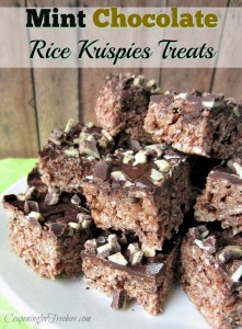 A little twist to your normal Rice Kripsie treats. If you love chocolate and mint, you will fall in love with these Mint Chocolate Rice Krispies Treats.