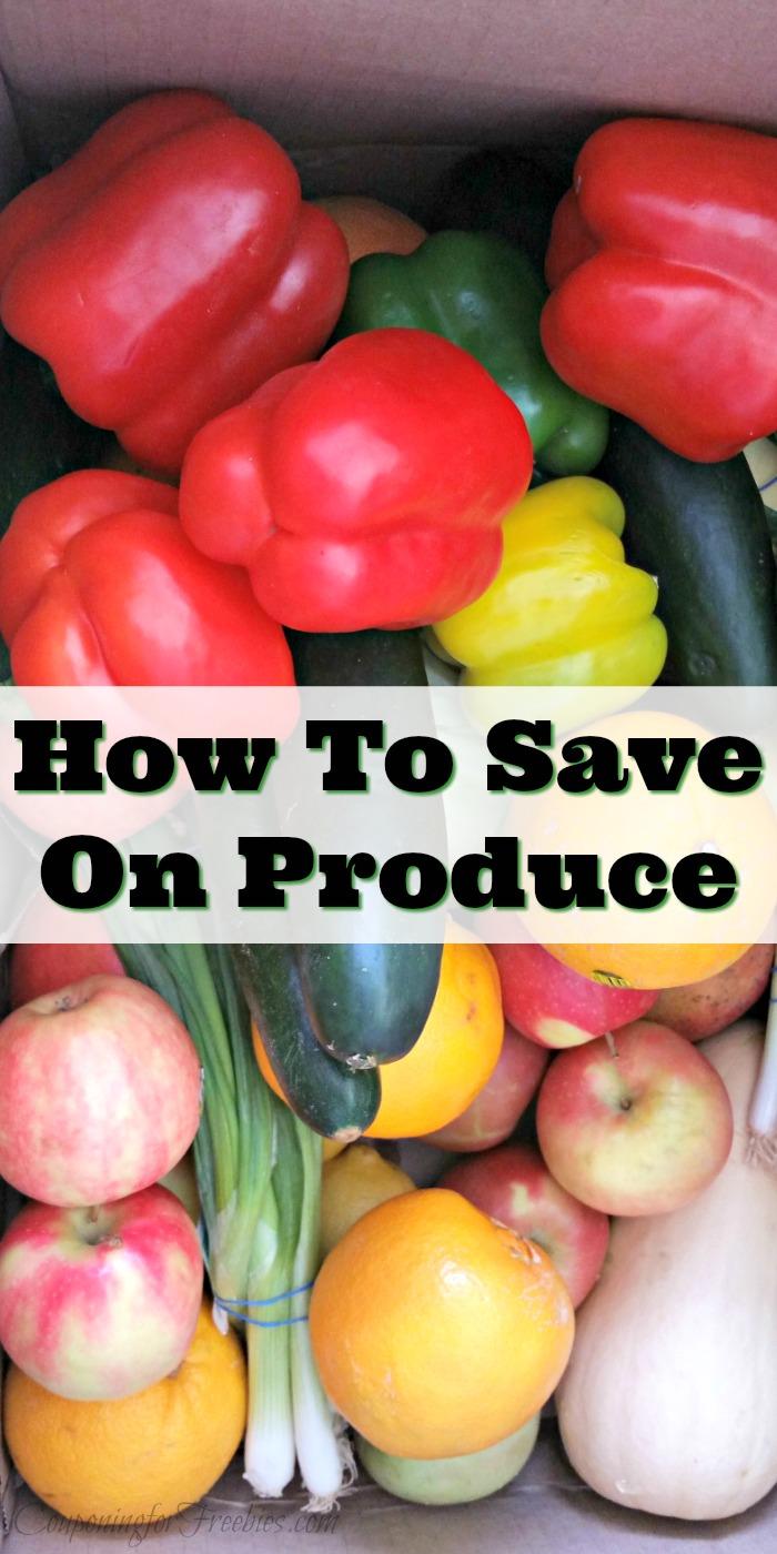 Box full of fresh produce with text overlay in middle that says How To Save On Produce