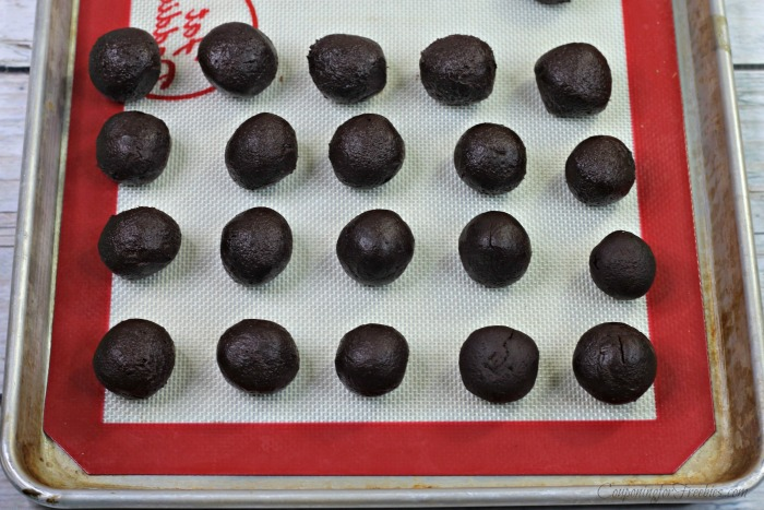 Truffle balls formed on a cooking sheet
