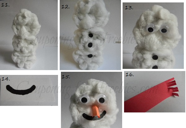 Different steps to stack the pieces of snowman and add buttons and face